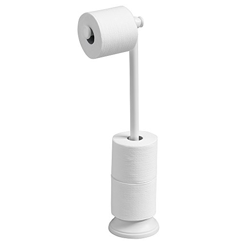 mDesign Free Standing Toilet Paper Holder for Bathroom - Whi