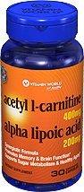 Vitamin World Acetyl L-Carnitine Free Form Alpha Lipoic Acid, 30 Caplets