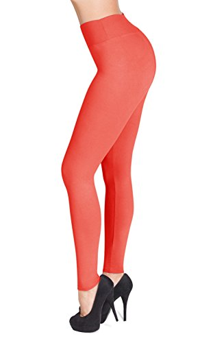 SATINA High Waisted Leggings - 22 Colors - Super Soft Full Length Opaque Slim (One Size, Neon Coral)