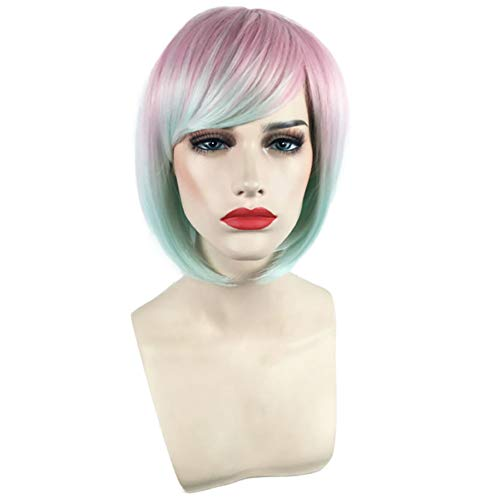 XIAOWEIBA Bob Wigs Short Women's Color Gradient Women's Wig (Pink Gradient Mint Green) Straight Roleplay Wig Halloween Makeup Wig Oblique Bangs Wig Cap