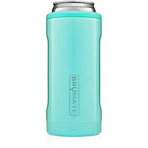 BrüMate Hopsulator Slim Double-walled Stainless Steel Insulated Can Cooler for 12 Oz Slim Cans (Aqua)