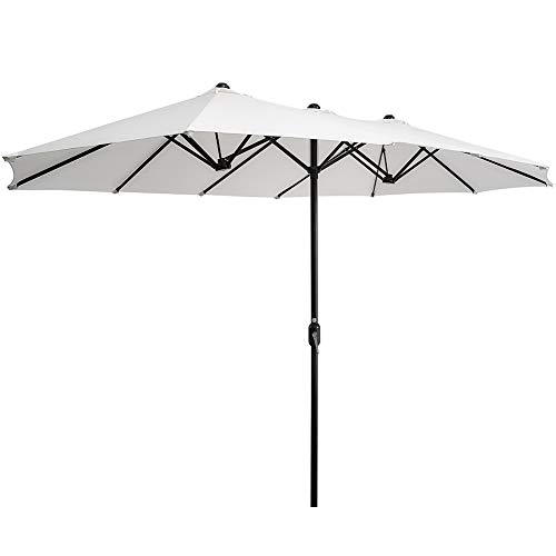 SUPERJARE 14 Ft Outdoor Patio Umbrella, Extra Large Double-Sided Design with Crank, Polyester Fabric - White