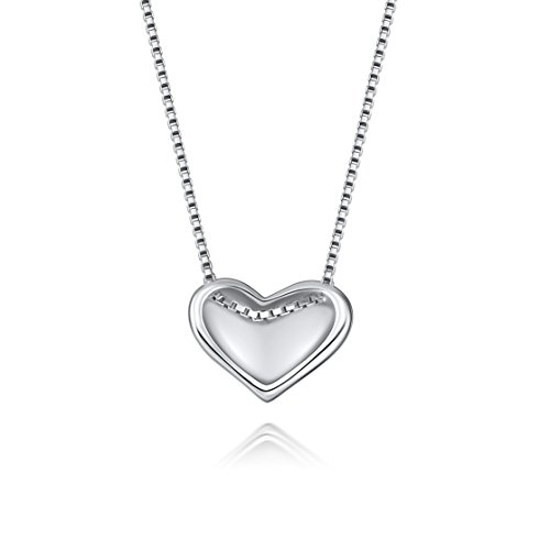 Fine Jewelry Sterling Silver Heart in Love Charm Pendant Necklace, 18 inches by SILVERLUXY (Image #1)
