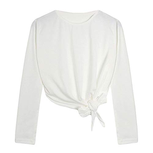 Fshinging Womens Crop Tops,Casual T-Shirt Long Sleeve Solid Color O Neck Blouse Tee Pullover Top Sweatshirt{White,M} (White Hollister Sweatshirt)