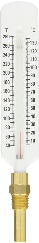 PIC Gauge 162F Series 160 Steel Red Liquid Filled Thermometer with Bottom Connection, Brass Well, 5