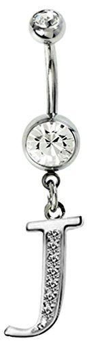 Silver initial dangle belly button ring with CZ crystals - J