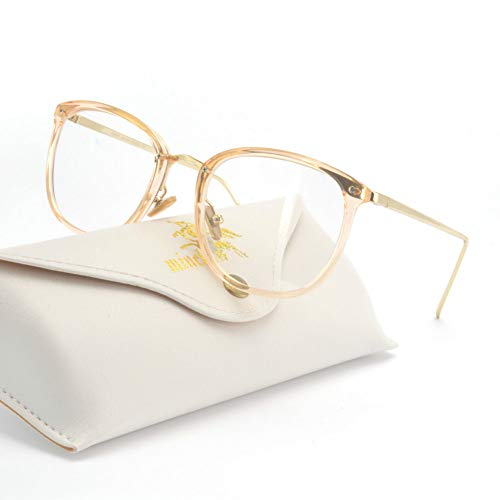 Fashion Trend Gold Wire Round Glasses Frame Ladies Reading Glasses (Tea, ()