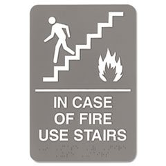 ** ADA Sign, 6 x 9, In Case of Fire Use Stairs, Gray (Use Stairs)