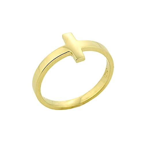 Solid 10k Yellow Gold Mid Finger Band Sideways Cross Knuckle Ring, Size 7