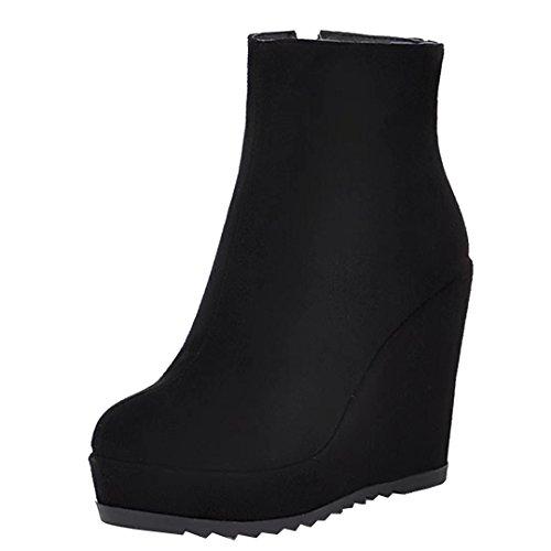AIYOUMEI Damen Keilabsatz Stiefeletten mit Plateau High Heels Herbst Winter Wedge Stiefel Schuhe Schwarz