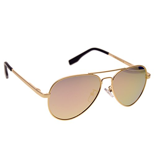 Frame Aviator - Zacway Small Polarized Spring Hinges Metal Aviator Sunglasses for Men Women UV400 52mm (Gold Frame\Mirror Pink Gold Lens, 52)