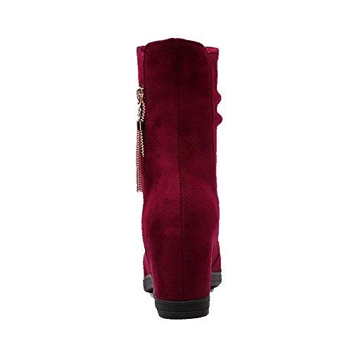 AllhqFashion Damen Ziehen auf Mattglasbirne Hoher Absatz Rund Zehe Stiefel Weinrot