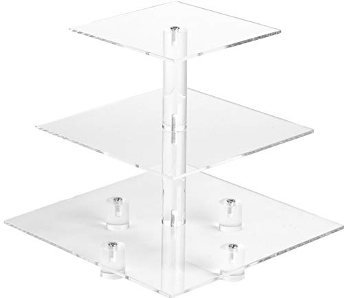 YestBuy 3 Tier Maypole Square Wedding Party Tree Tower Acrylic Cupcake Display Stand (3 Tier (10cm gap) with Base) ¡­ -