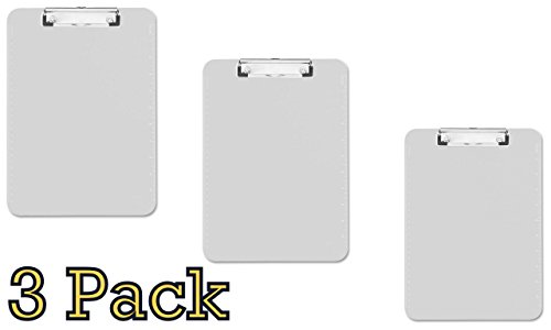 3-pack Transparent Plastic Clipboard, Flat Clip, 9X12x7/64, Clear, (01869)