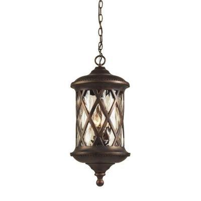 Titan Lighting Barrington Gate Hanging Outdoor Hazelnut Bronze 3-Light Pendant