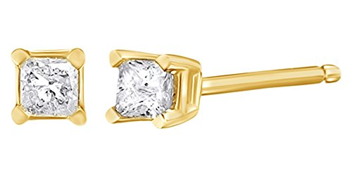 Princess Cut White Natural Diamond Stud Earrings in 10k Solid Yellow Gold (J-K Color, I2-I3 Clarity) (0.1 Princess Ct Diamond)
