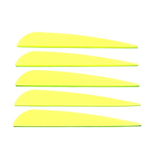 Letszhu Arrows Vanes 4 Inch Plastic Feather Fletching for DIY Archery Arrows 50 Pack (Neon Yellow)