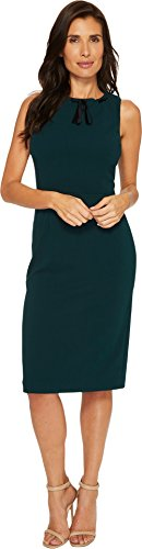 Crepe Tie Neck (Ivanka Trump Women's Scuba Crepe Velvet Thread Through Neck Tie Dresss, Emerald, 12)