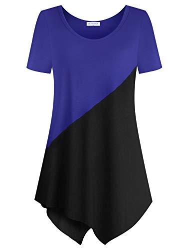 Bulotus Women Plus Size Tops Short Sleeve Tunics for Legging (Blue Black Patchwork, XX-Large)