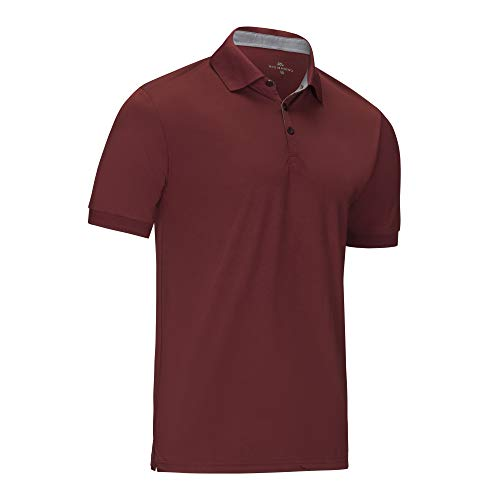 Mio Marino Golf Polo Shirts for Men - Regular-fit Quick-Dry Mens Athletic Shirts (Burgundy, ()