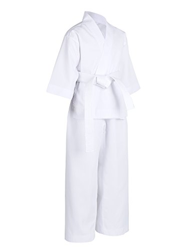CHICTRY Martial Arts Aikido Judo Student Middle-Weight Karate GI Suit Uniform Costume With Belt For Kids Adults White 0/7-8 Years