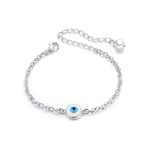 SILVER MOUNTAIN Children Evil Eye Bracelet Sterling Silver S925 Protection Toddler Baby Girls Good Luck Jewelry Gift For Kids
