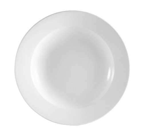 CAC China RCN-120 Clinton Rolled Edge 12-Inch Super White Porcelain Pasta Bowl, 26-Ounce, Box of 12 ()