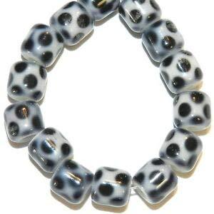 Steven_store G588 Black & White Polk-A-Dot 7mm Cylinder Round Tube Glass Beads 16