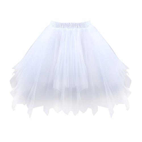 Acecharming Girl's Ballet Tutu Skirts Tulle Bubble Classic Prom Ball Layered Underskirt (White) -