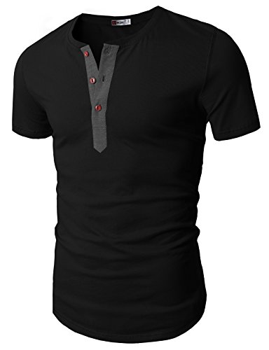 (H2H Mens Basic Henley Short Sleeve T-Shirt with 3 Buttons Front Placket Black US XXL/Asia 3XL (D15S_KMT05S))