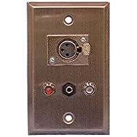 Philmore Stainless Steel Wall Plate with (1) XLR 3-Pin Female Microphone Connector, (1) 3.5mm Stereo Connector and (2) RCA Feed-Thru Jacks; 75-739