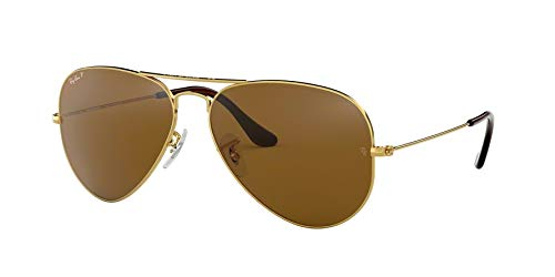 Ray-Ban Aviator 3025 Gold Frame Brown Polarized RB 3025 001/57 58mm Small NEW (Rb 3025 001)