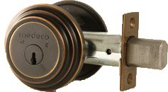 Locks Security Medeco - Medeco 11TR50310 Maxum Residential Single Cylinder Deadbolt, Satin Brass Blackened, 2-3/8
