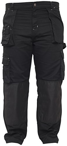 Qaswa Mens Work Safety Cargo Pant Knee Pad Pocket Heavy Duty Combat Outdoor Work wear Trouser Black (Heavy Duty Work Trousers With Knee Pads)