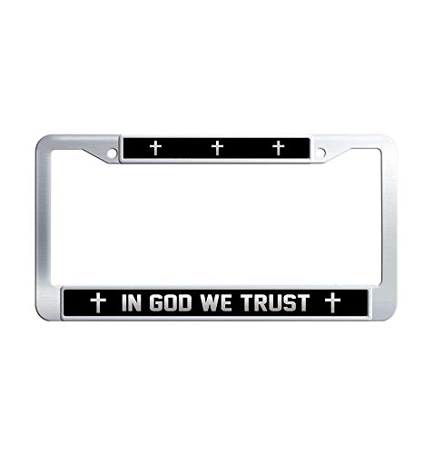 JiuznseateFrame in God We Trust License Plate Frame, Personalized Thin Blue Line Cross USA Flag Waterproof Stainless Steel Metal License Frame Holder with Screw Caps ()