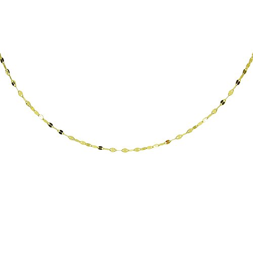 14k Yellow Gold Italian - 14K Yellow Gold Italian Chain Hammered Mariner Dainty Choker Necklace