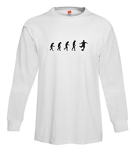 - ShirtLoco Men's Evolution Of Man To Soccer Player Long Sleeve T-Shirt, White 3XL