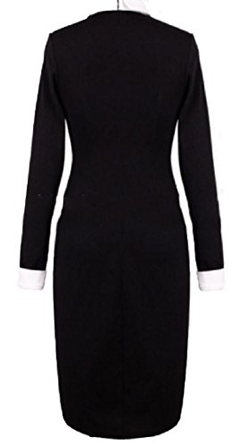 Lapel Office Midi Work Color Club Dress Coolred Fit Stylish Pure Women Black wfwqgX0