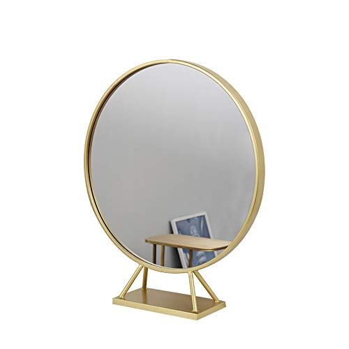 Gold Round Mirror With Base,Large Circle Mirrors for Dressing Table Decor,19.68in Big Metal Frame Standing Mirror,Modern Vanity mirror for Living Room Bathroom Bedroom