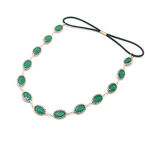 Rainbow Colored Faux Crystal Oval Rhinestone Chain Elastic Rubber Band Headpiece (Color - 1# Green) - Chain Brooch Cameo