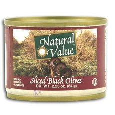 Natural Value Sliced Black Olives 96x 2.25Oz