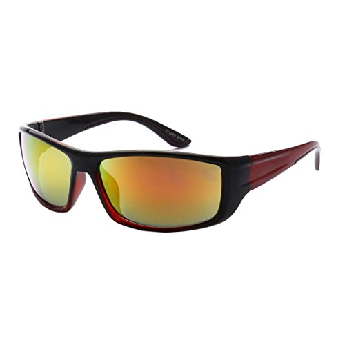 MLC Eyewear Outdoors Sports Full Square Framed Sunglasses - Framed Glasses Square Red