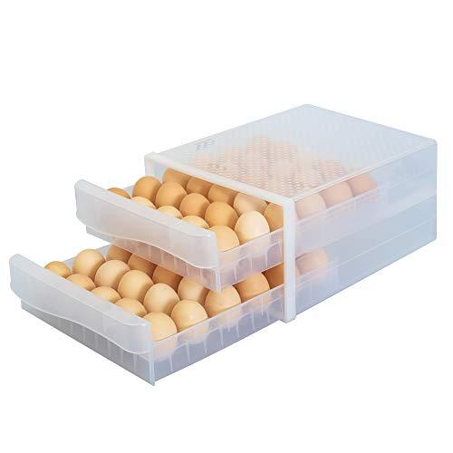 WAYTRIM Kitchen Plastic Egg Holder, Fridge Organizer with Handles, Refrigerator Storage Container, Multi Layer Stackable…