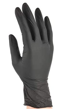 Black Nitrile Disposable Gloves AQL 1.5 M 100 GLOVES tattoo mechanic examination
