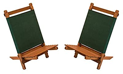 BYER OF MAINE, Pangean Lounger, Durable Hardwood with Heavy Duty Polyester, Easy to Fold and Carry, Wooden Beach Chair, Camping Chair, Foldable Chair, Portable Chair, Pangean Furniture Line, Two Pack