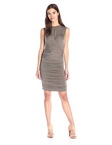 Nicole Miller Women's Cupro Jersey Dress, Khaki, Large