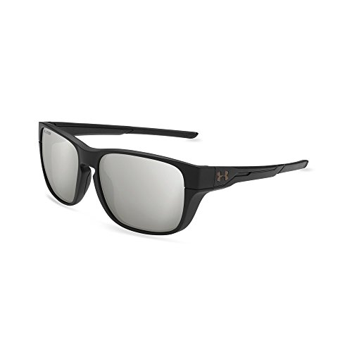 Under Armour UA Pulse Polarized Wayfarer Sunglasses, UA Pulse Satin Black/Black/Silver Polarized Mirror, M/L