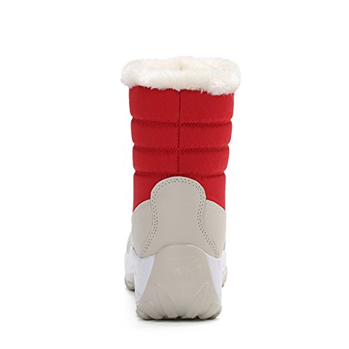 Thick Faux Red Winter Boots SAGUARO Sole Fur Snow Shoes Lined Women's 1IR0q0Zw