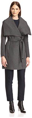 Elie Tahari Women's Portland Double-Faced Wrap Coat, Charcoal/Light Grey, 12