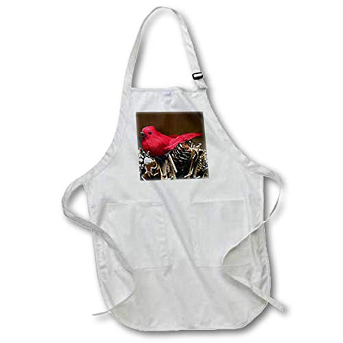 3dRose Stamp City - Holiday - Photograph of a red Cardinal Ornament on Winter Pinecone Garland. - Full Length Apron with Pockets 22w x 30l (apr_304344_1) ()